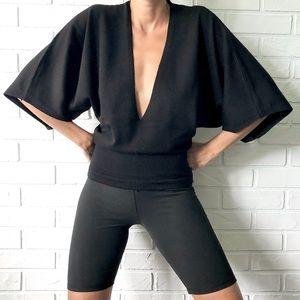 Brunella Gori merino wool batwing low neck sweater